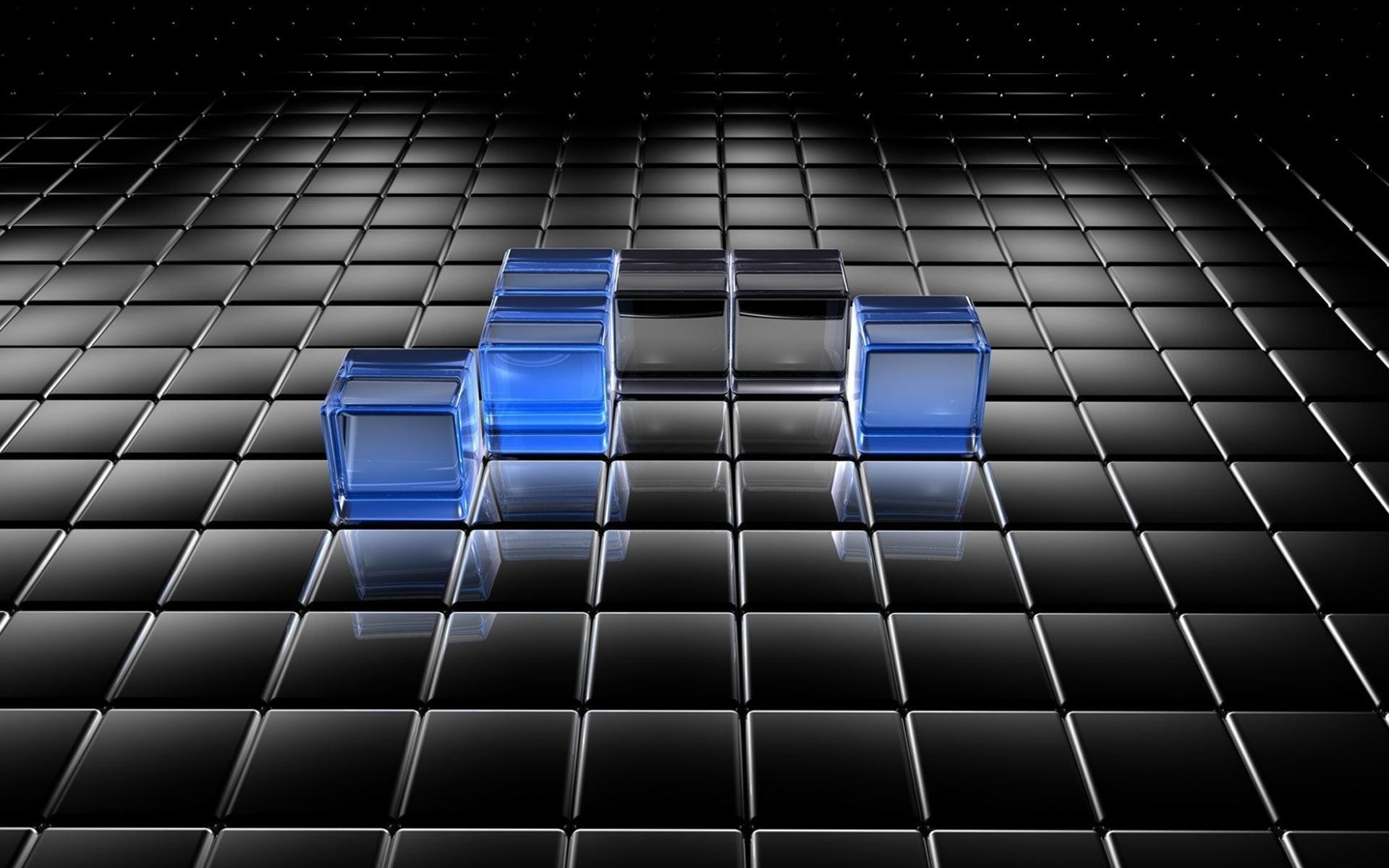 Black and blue translucent cubes wallpaper 118 1920x1200