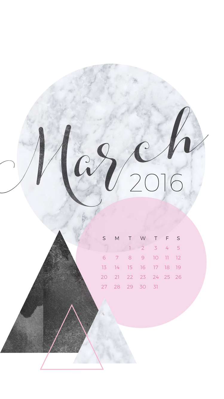 March 2016 Desktop Calendar Wallpaper Paper Leaf 750x1334