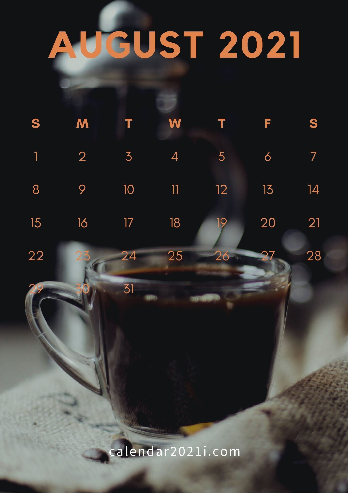 August 2021 Calendar iPhone Wallpaper in high definition Monthly 1414x2000