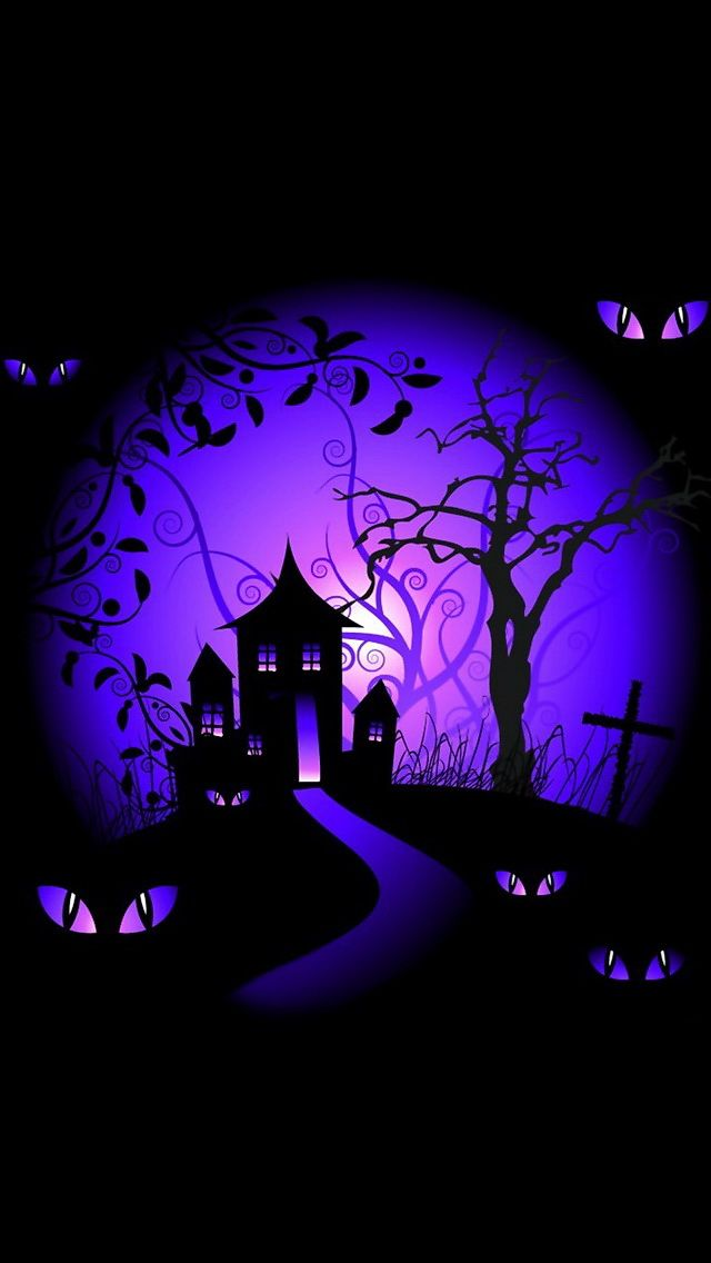 iphone wallpapers background   black and purple halloween haunted 640x1136