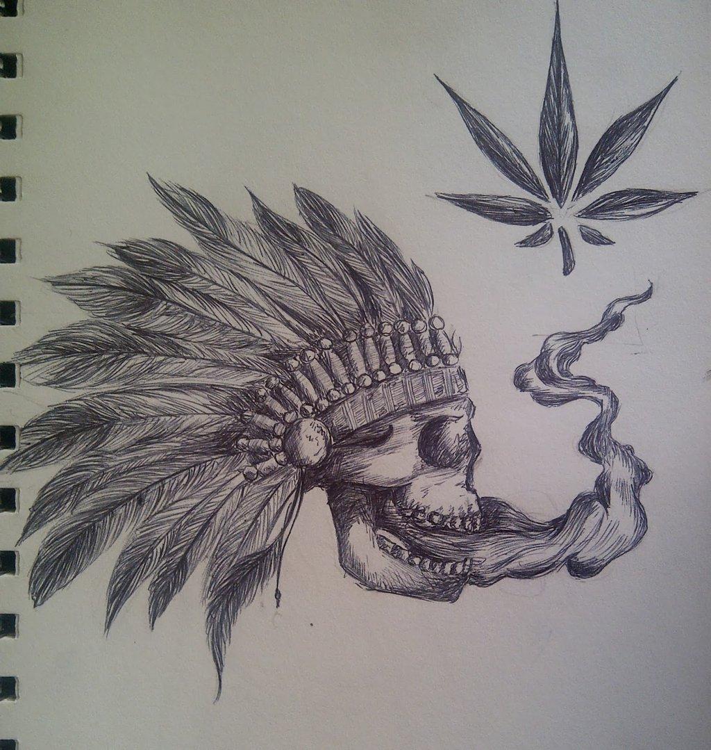 Skull smoking weed by MaryshavH 1024x1079