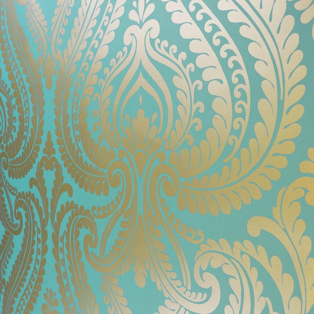 45 Teal And Gold Wallpaper On Wallpapersafari