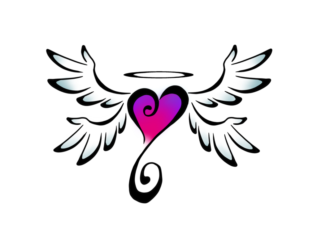 Wallpapers Heartwith Skulls Designs Colorful Heart With Wings 1024x768