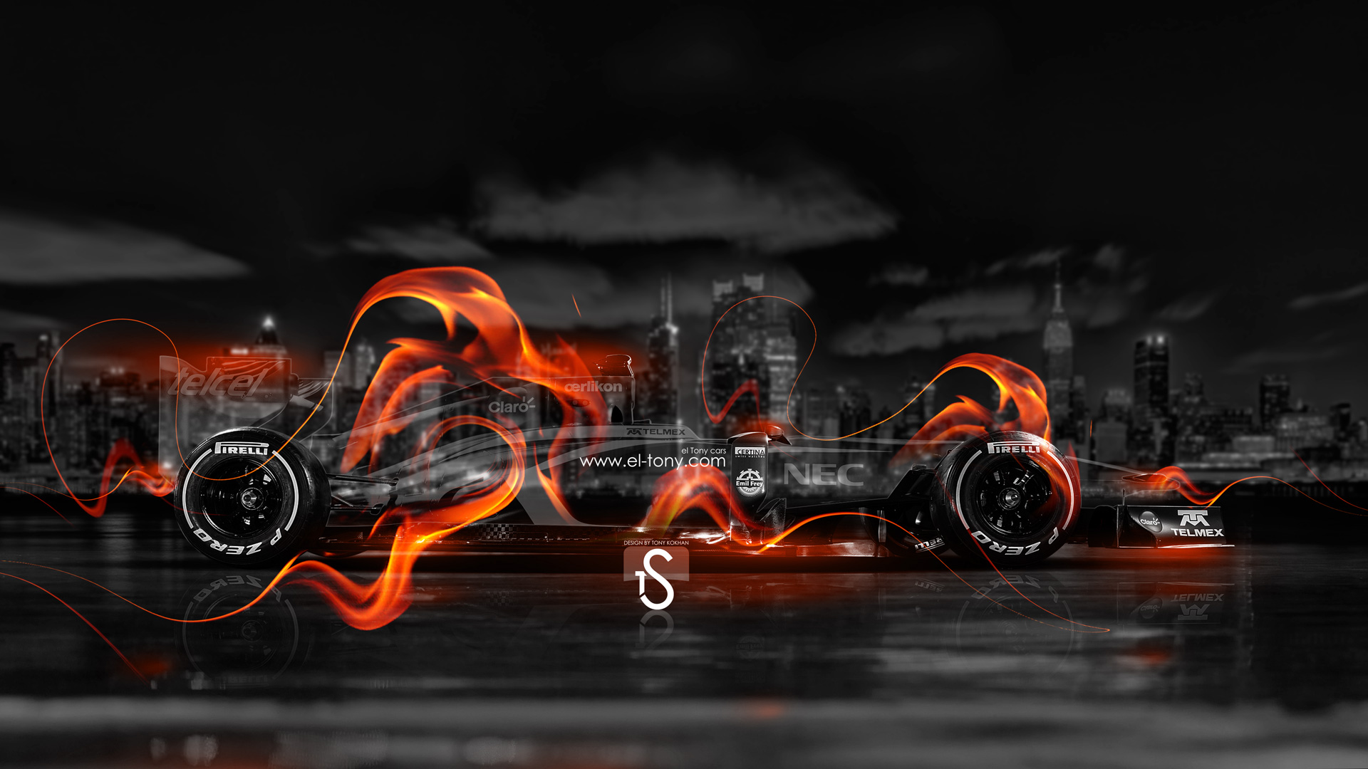F1 Fire Crystal City Car 2014 HD Wallpapers design by Tony Kokhan [www 1920x1080