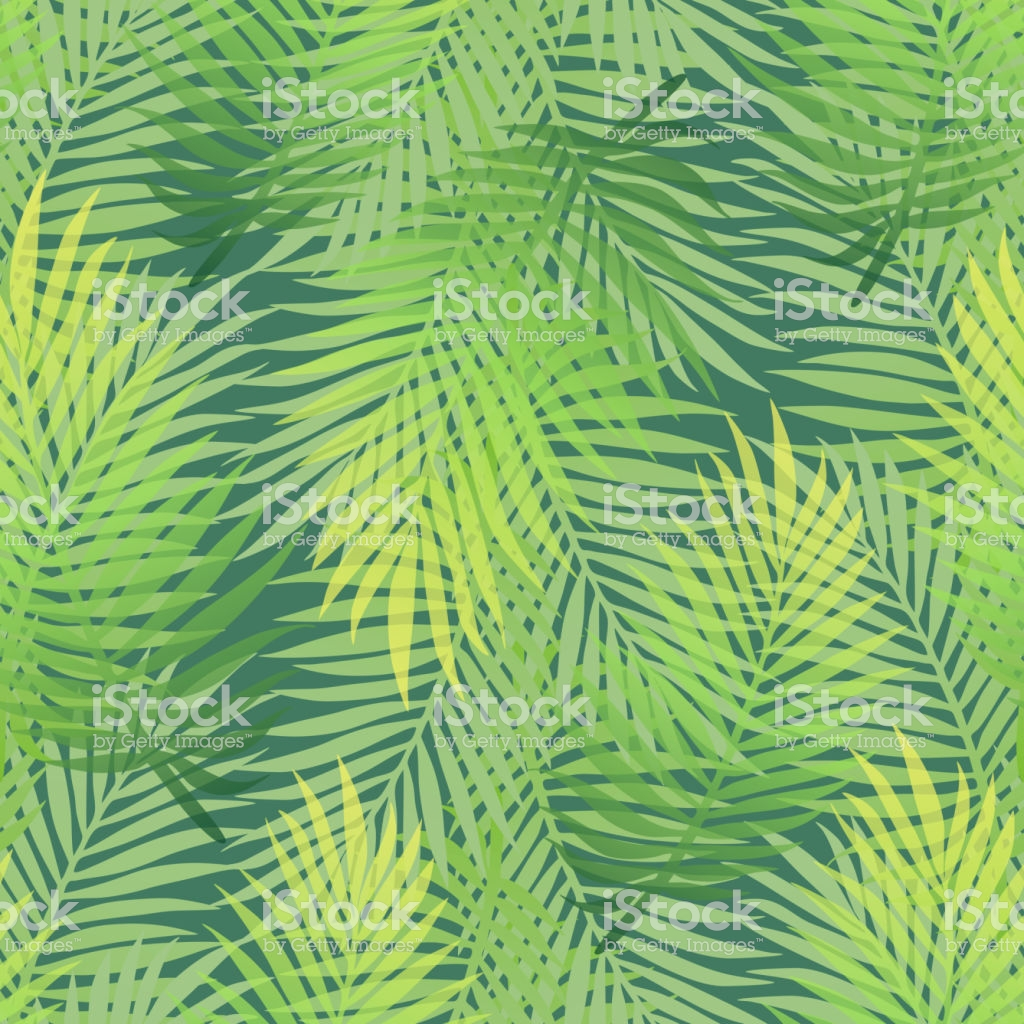 Lush Green Gradient Color Banana Palm Tree Leaves Seamless Pattern 1024x1024
