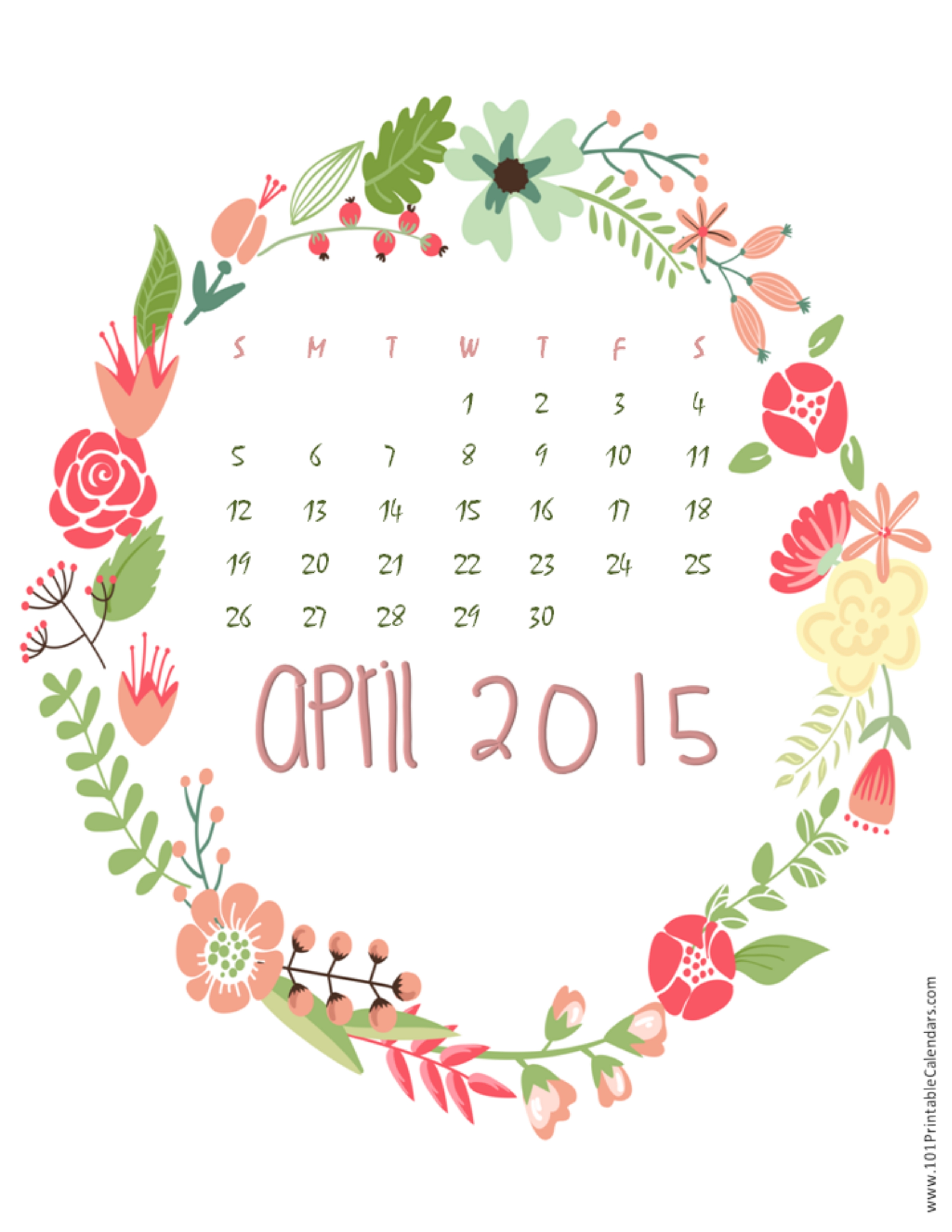 Cute April 2015 Calendar Pictures and JPG GIF PNG Images Happy 2550x3300