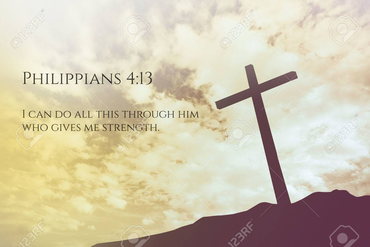 Philippians 413 Vintage Bible Verse Background On One Cross 1300x866
