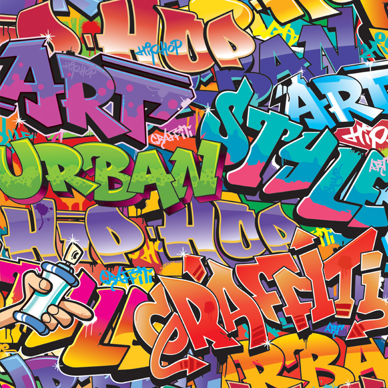 Walltastic Graffiti Wallpaper Mural: Graffiti Wallpaper Mural