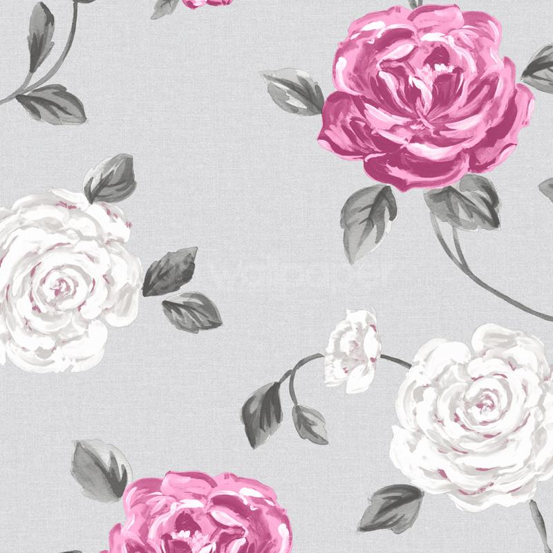 Muriva Fleur Floral Grey Pink Wallpaper 122505 800x800