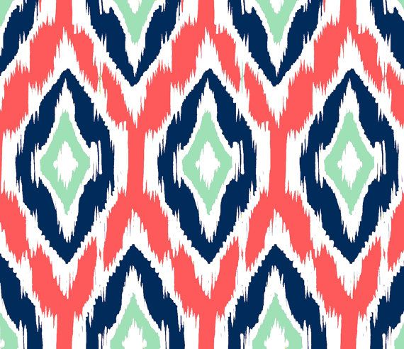 the Yard   Coral Navy and Mint Coral Navy Ikat Fabric and Coral 570x492