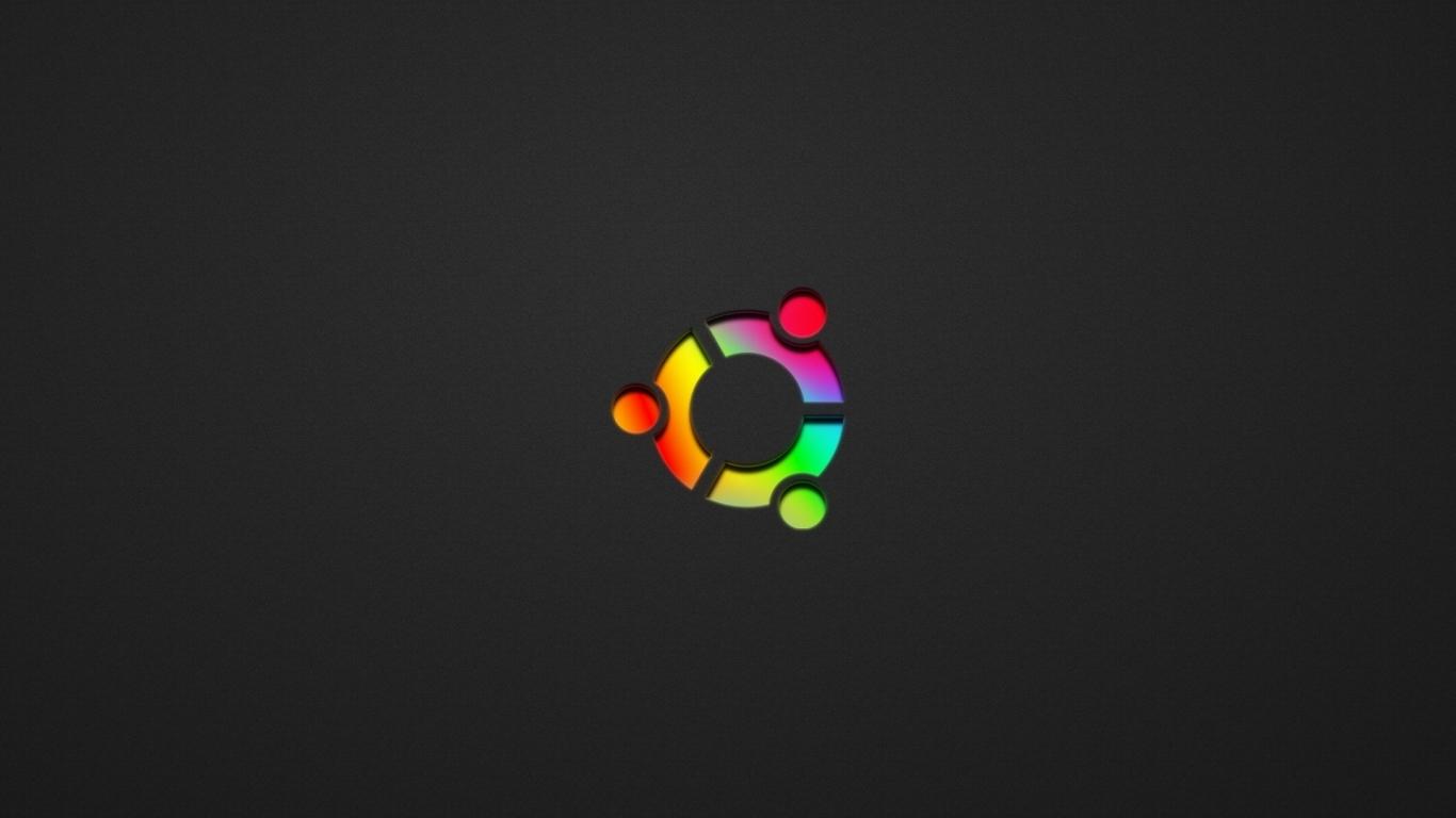 Wallpaper 1366x768 ubuntu black rainbow symbol laptop 1366x768 HD 1366x768