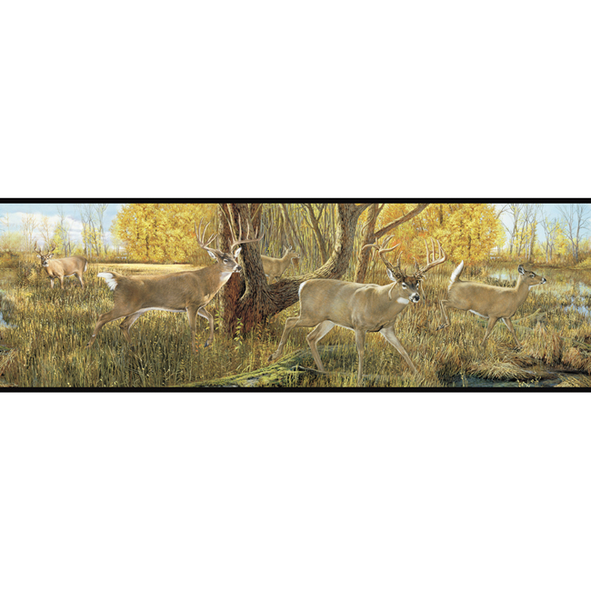 MTA1NzExODc2WESTERN DEER ANTLERS Green Wallpaper Border TA39017B eBay 650x650