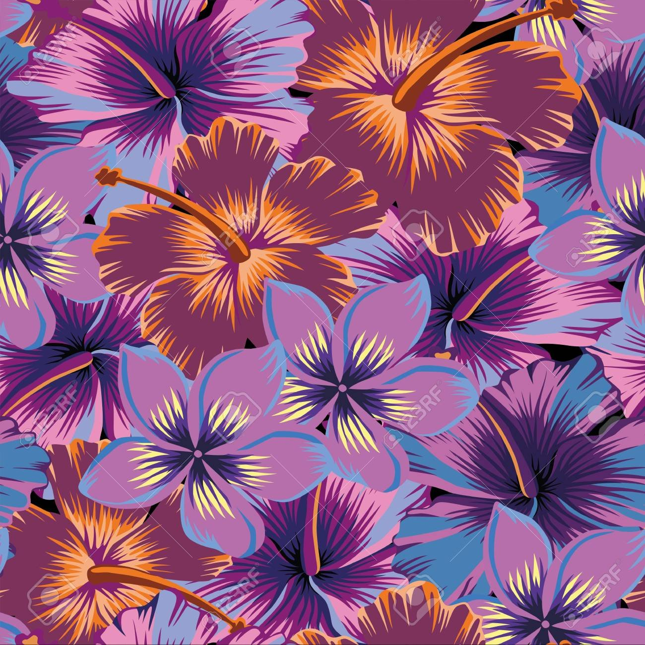 Tropical Exotic Flowers Plumeria And Hibiscus Abstract Color 1300x1300