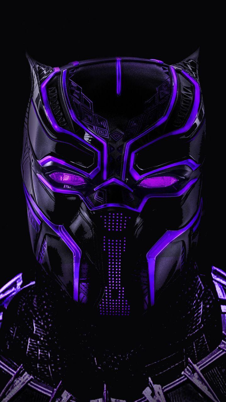 Black panther superhero dark glowing mask 720x1280 wallpaper 720x1280