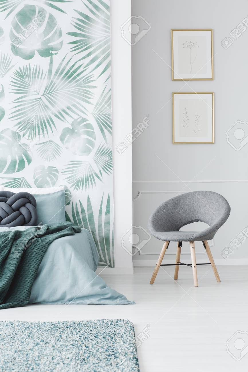 Modern Upholstered Gray Chair In A White Bedroom Interior With 866x1300