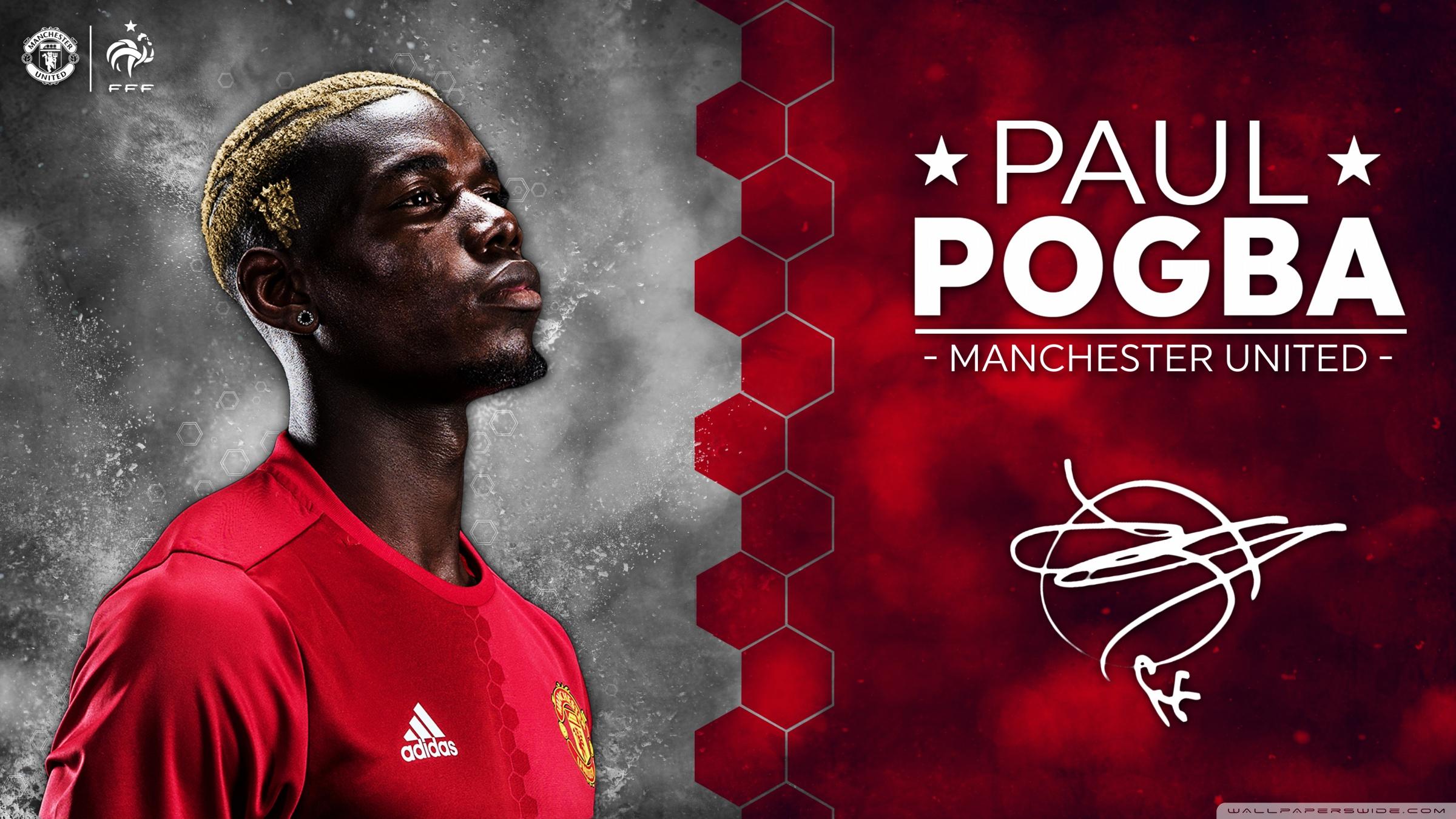 Paul Pogba Manchester United 2016 17 4K HD Desktop Wallpaper 2400x1350