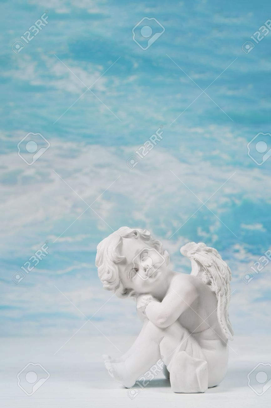 Dreaming Or Sad White Angel On Blue Heaven Background For A 866x1300