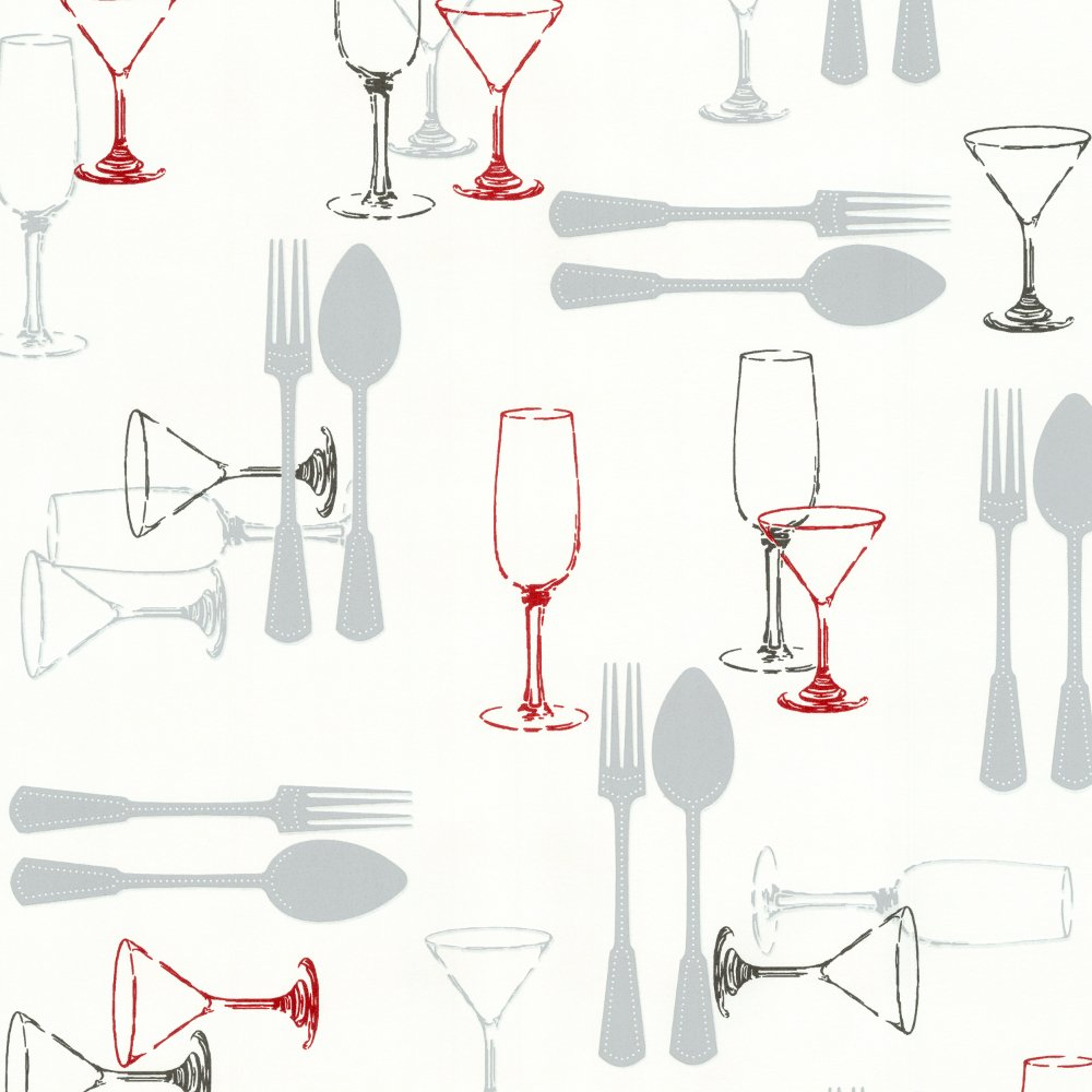 Sweet Home Cutlery Wine Luxury Washable Kitchen Wallpaper 03836 10 1000x1000