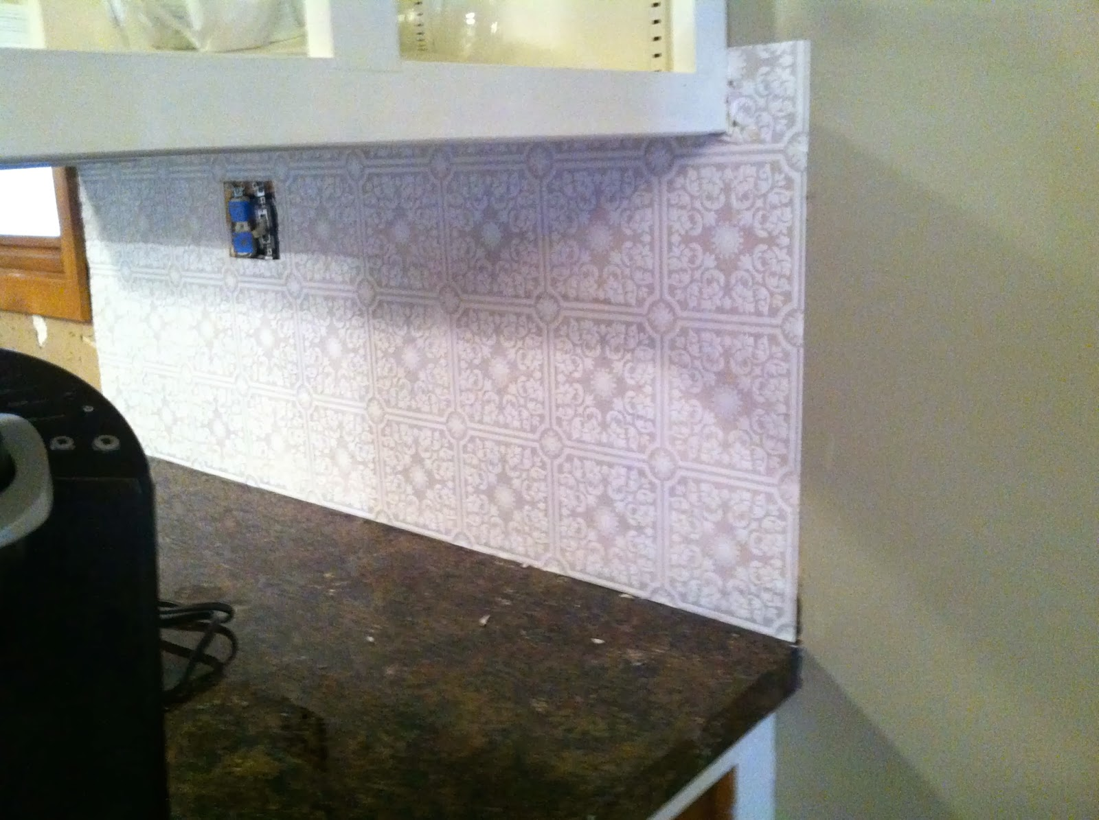 DIY Why Spend More Paintable wallpaper for a backsplash 1600x1195