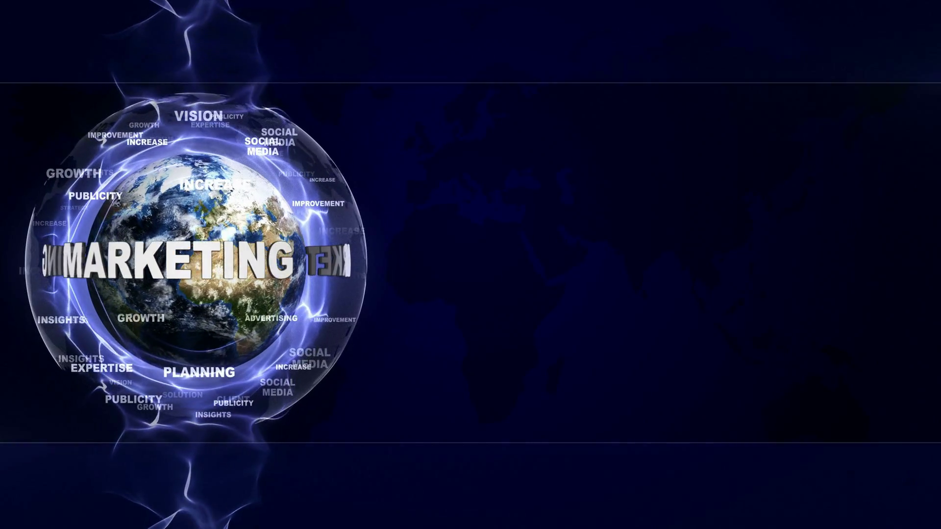 MARKETING Text Animation and Earth with Keywords Background Loop 1920x1080