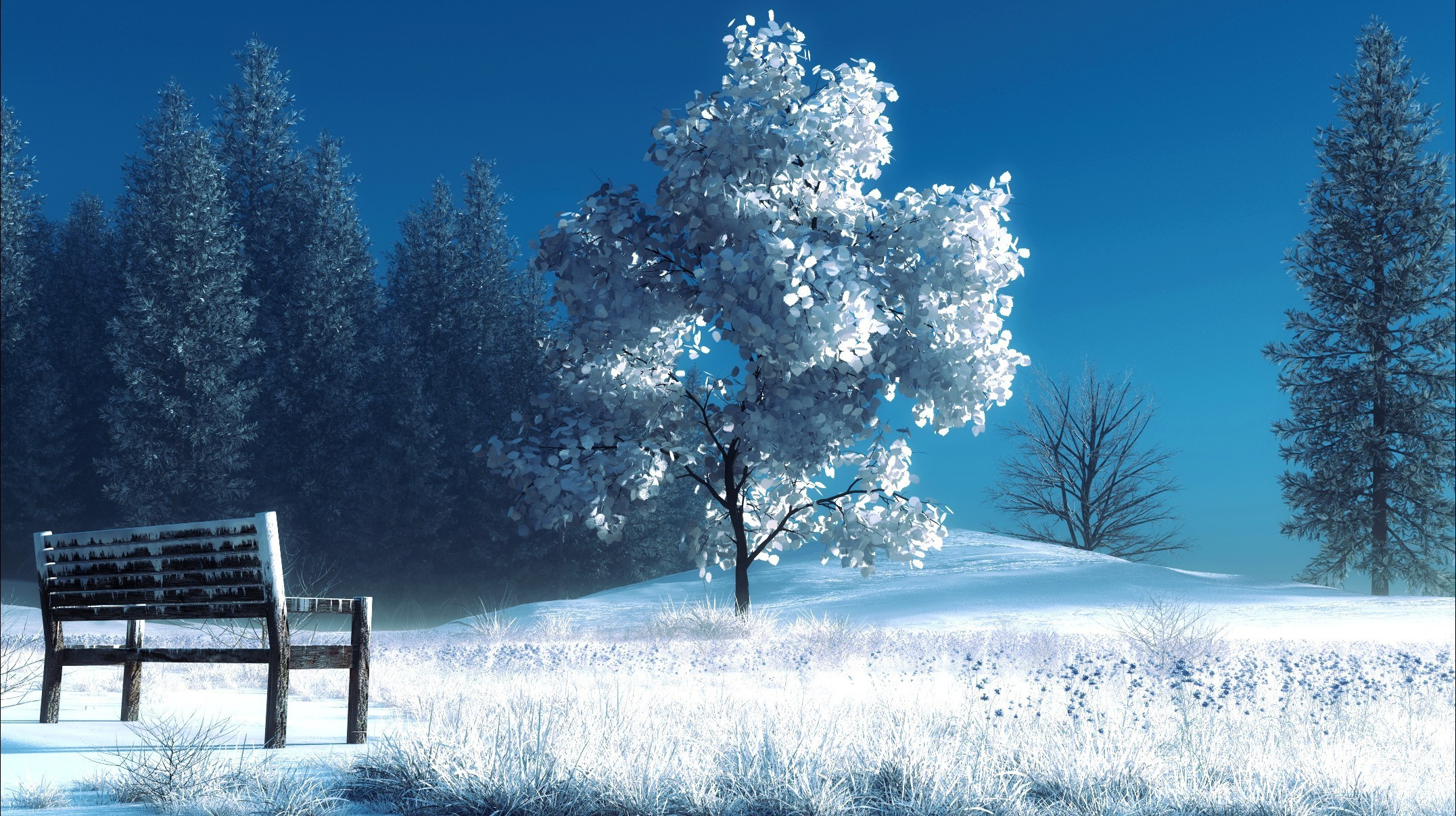 Snow Trees Bench style wallpapers and images   wallpapers pictures 2153x1207