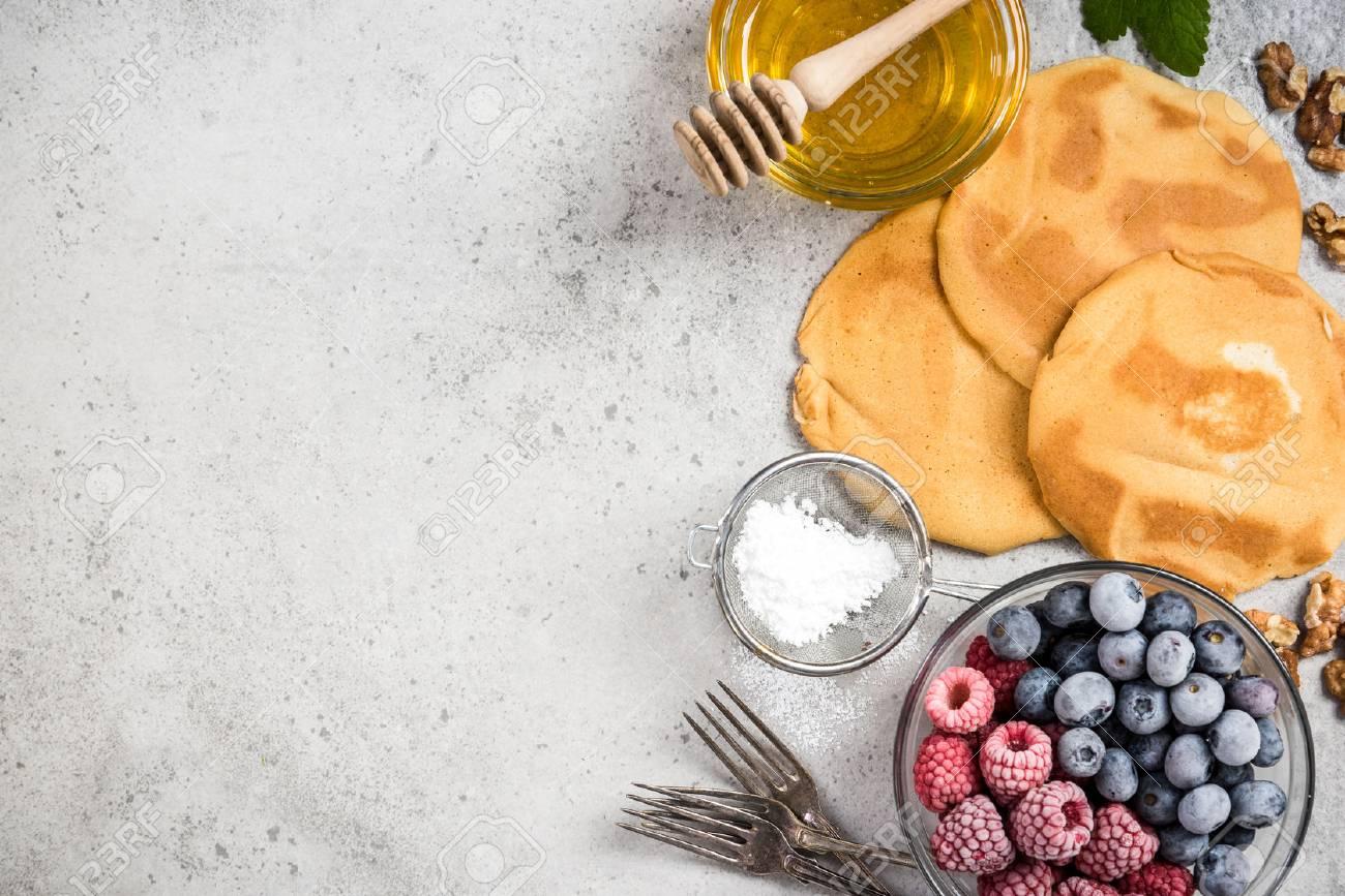 Recipe For Perfect Pancakes Border Background Stock Photo 1300x867