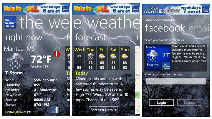 The Weather Channel app for Windows Phone 7 was updated today and 720x403