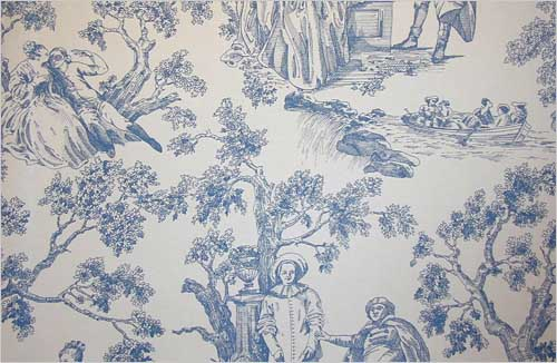 Toile de Jouy Wallpaper Blue on cream toile de jouy design wallpaper 500x326