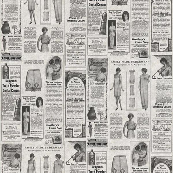 Grey Vintage Newsprint Wallpaper 600x600