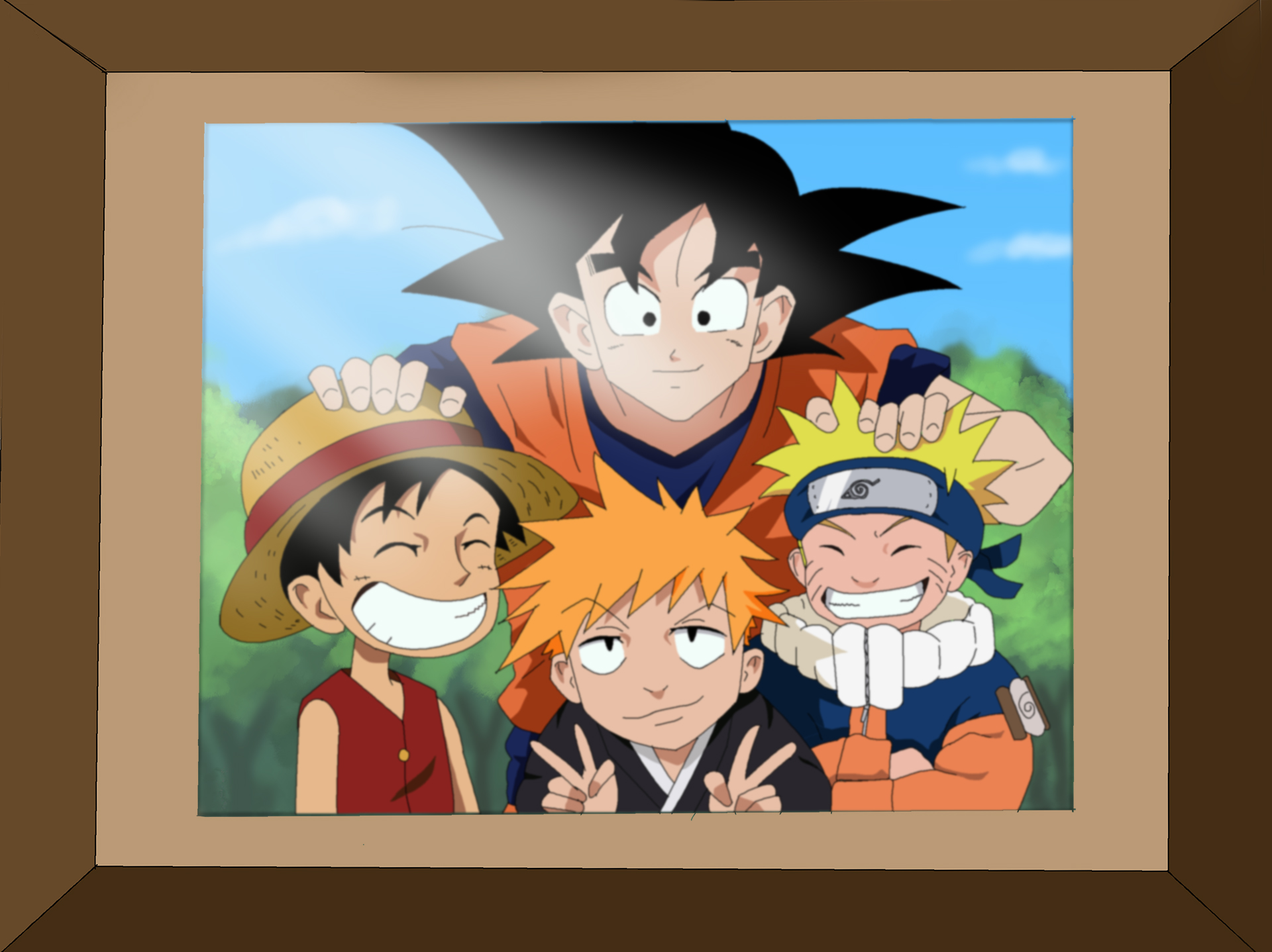 Naruto Goku Luffy and Ichigo Coloring by Nohealsfoyou 1920x1438