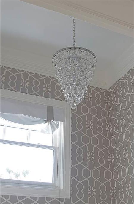 Gray Trellis Wallpaper Transitional bathroom Belmont Design Group 451x686