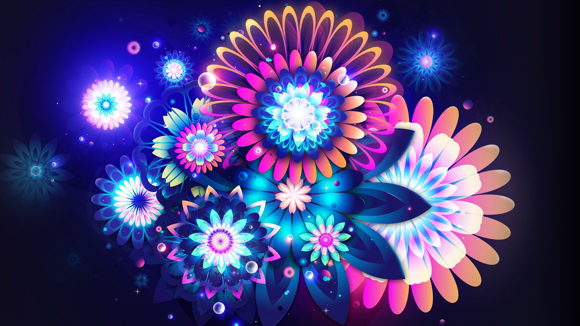 flowers neon color wallpaper background 1920x1080
