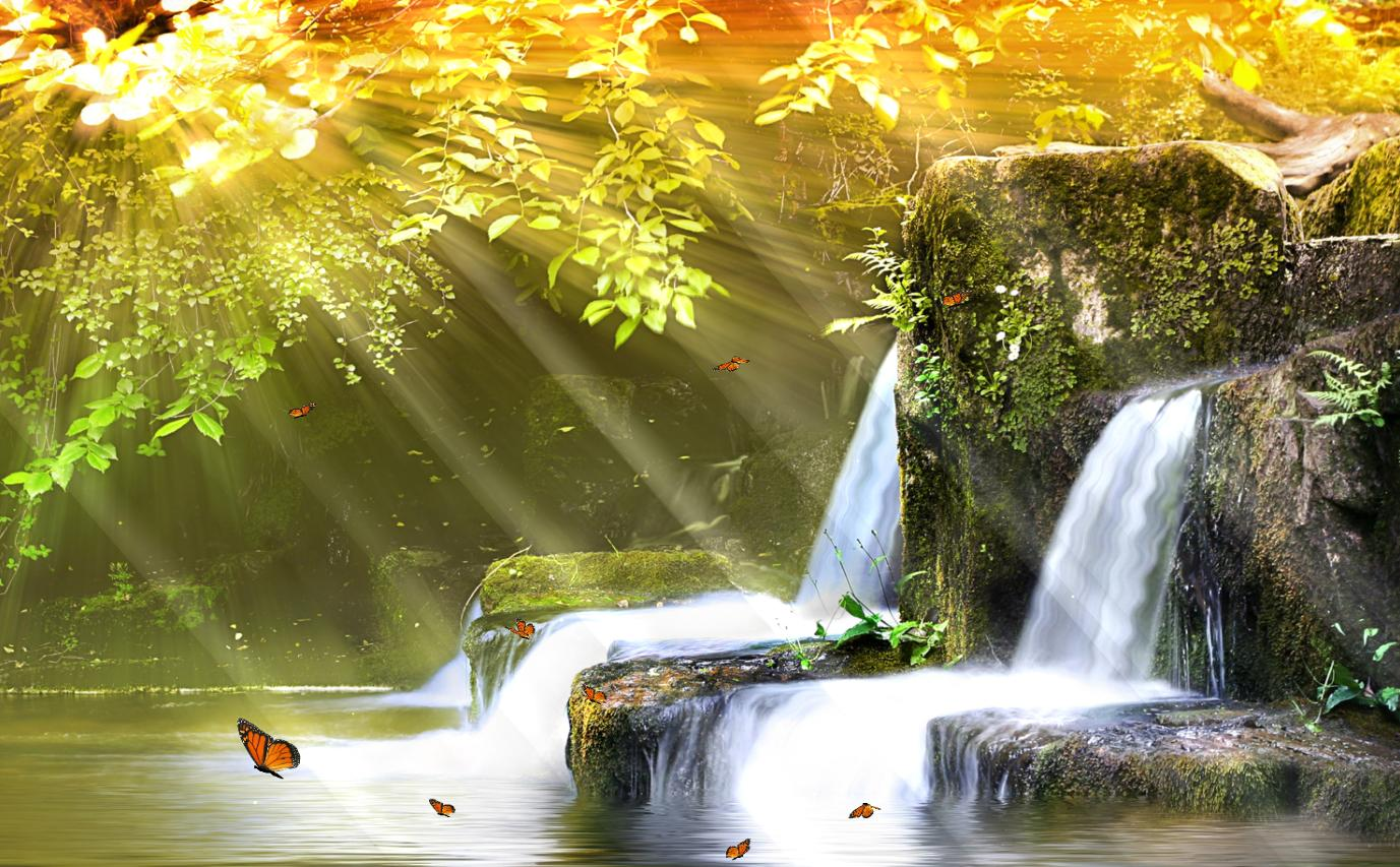 Download Now Charm Waterfall Animated Wallpaper 1377x853