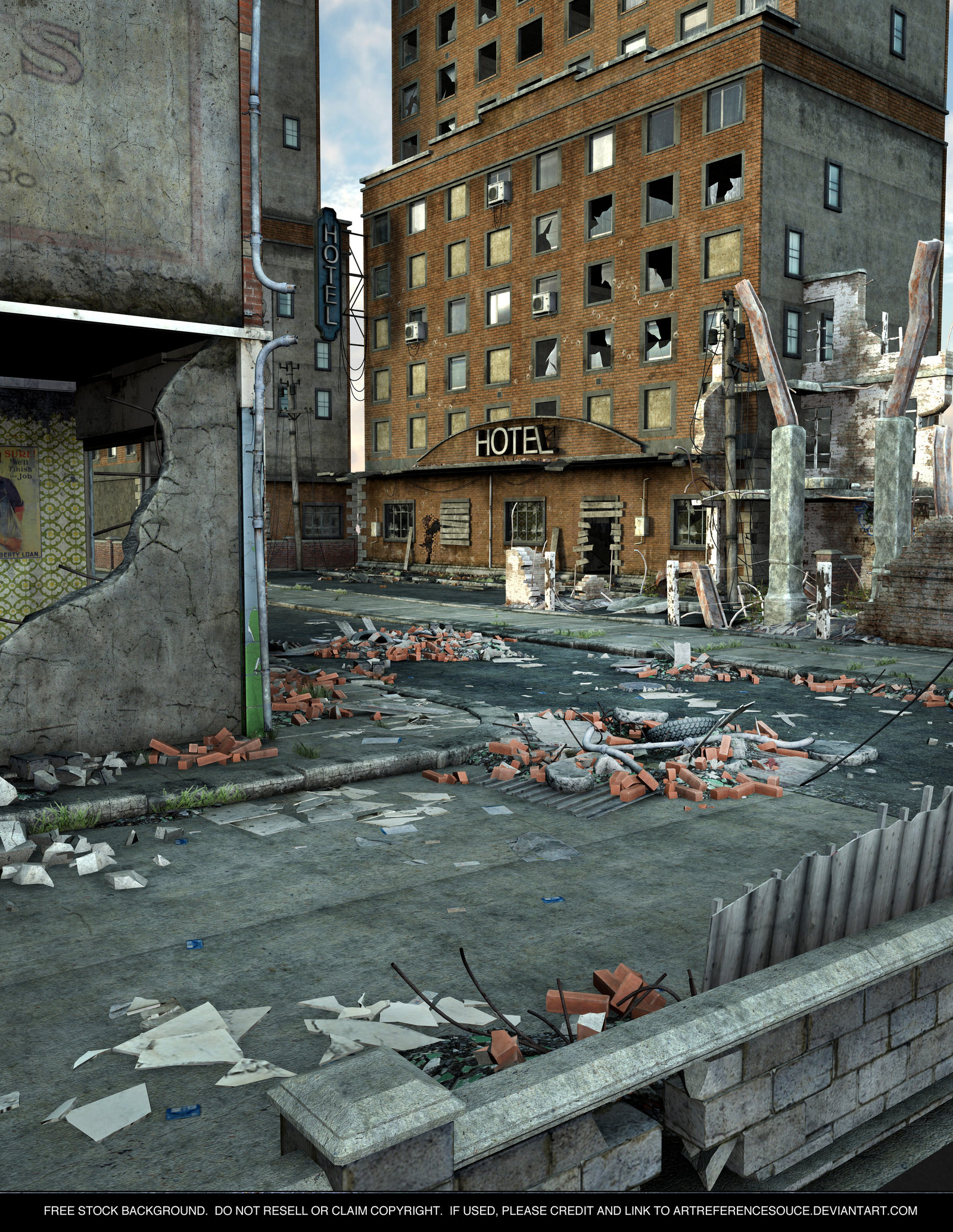 FREE STOCK Background   Destroyed City by 1600x2069