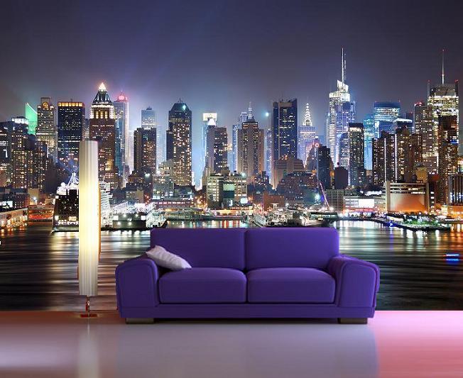 New York Skyline Manhattan night feature wall mural decor photo 652x533