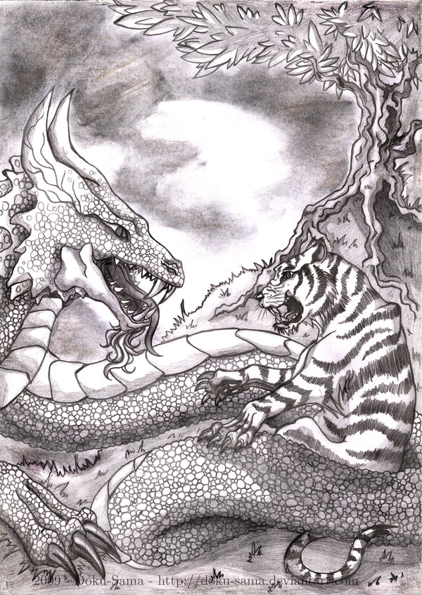 Tiger versus Dragon by Doku Sama 600x846