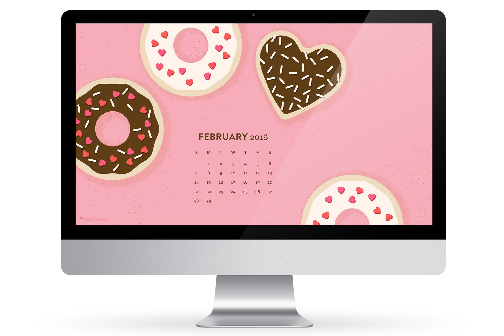 February 2016 Calendar Wallpaper   Sarah Hearts 2000x1334
