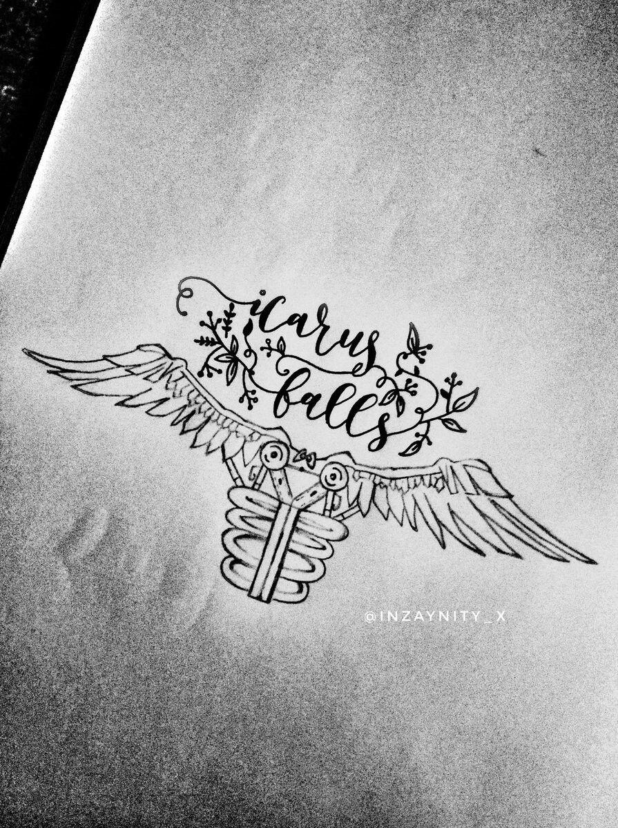 Icarus Falls With images Icarus fell Autumn tattoo Zayn lyrics 895x1200