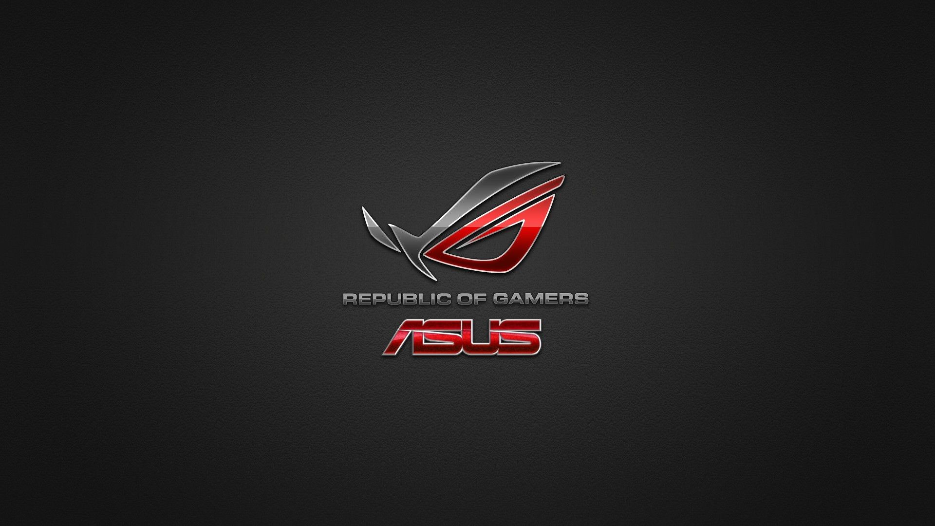 rog wallpaper of republic of gamers logo red mask a gray background 1920x1080