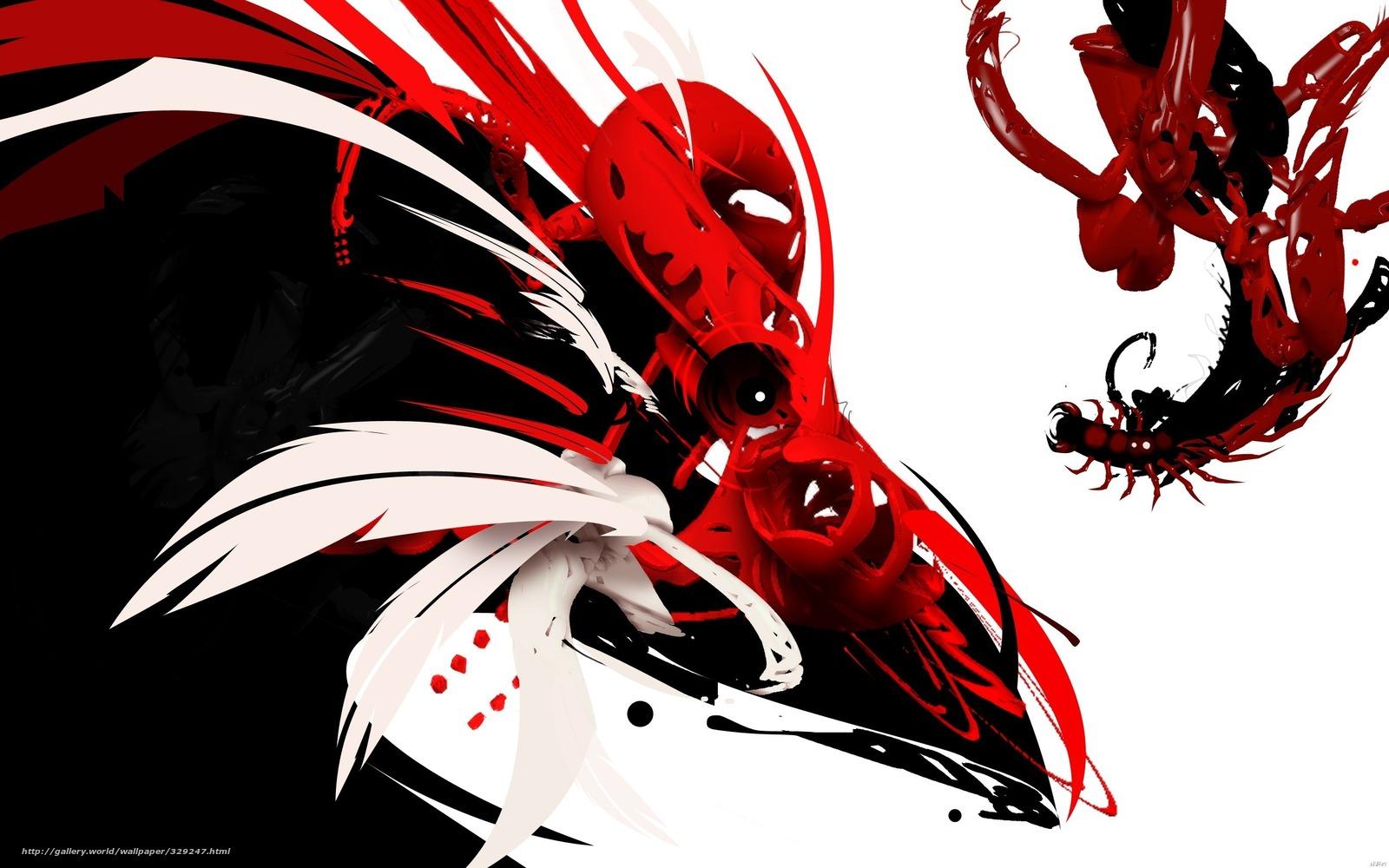Download wallpaper red black White bird desktop wallpaper in 1600x1000
