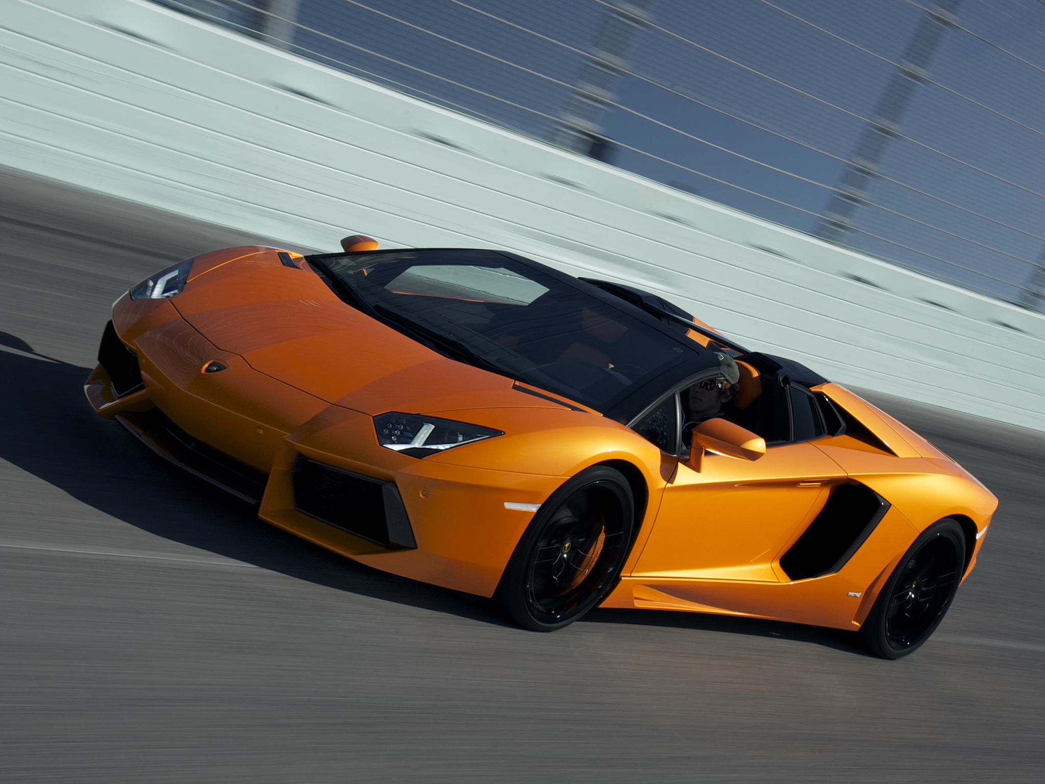 Lamborghini Aventador LP700 4 Roadster supercar orange track wallpaper 2048x1536