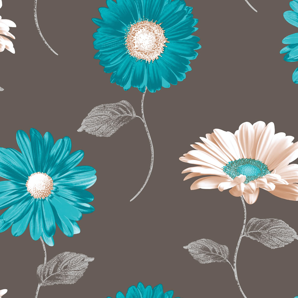 Brand New Daisy Wallpaper Muriva daisy chocolate teal 1000x1000