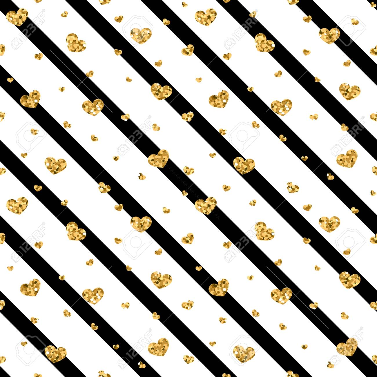 Gold Heart Seamless Pattern Black white Geometric Stripes Golden 1300x1300