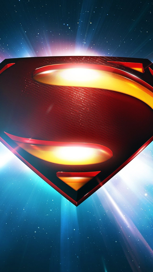 Superman Space Logo Man Of Steel iPhone 5 Wallpaper iPod Wallpaper 640x1136