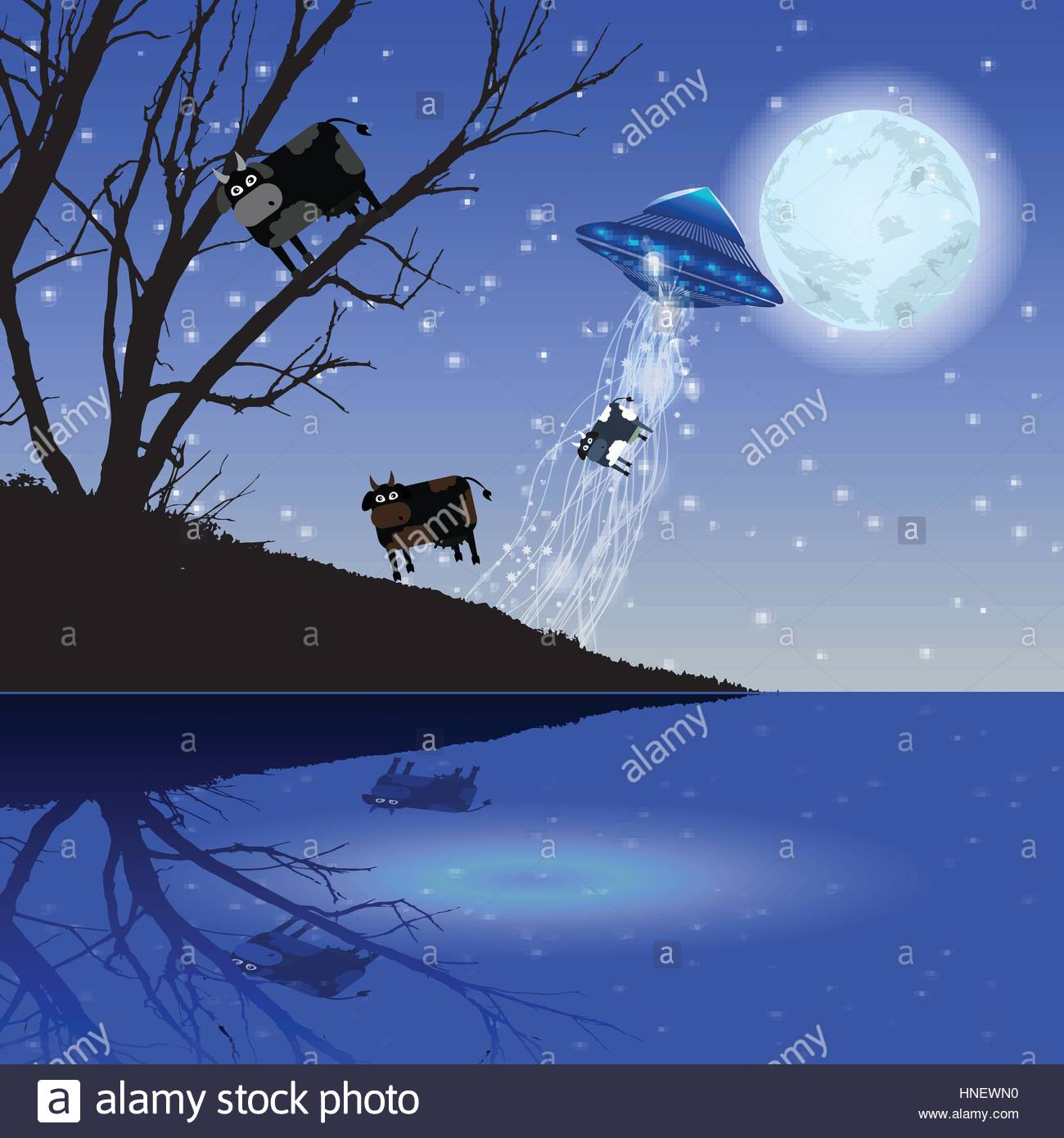 Abduction UFO flying cow Illustration Use wallpaper for the 1300x1390