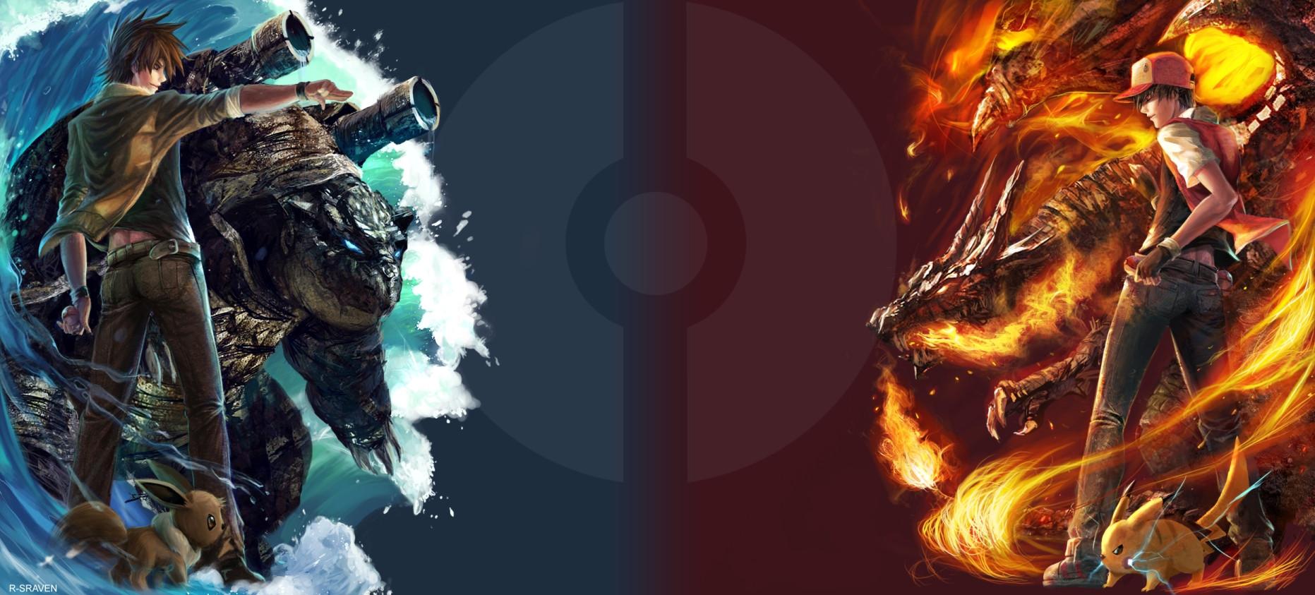 Blastoise vs Charizard [X post from rWallpaper] pokemon 1863x843