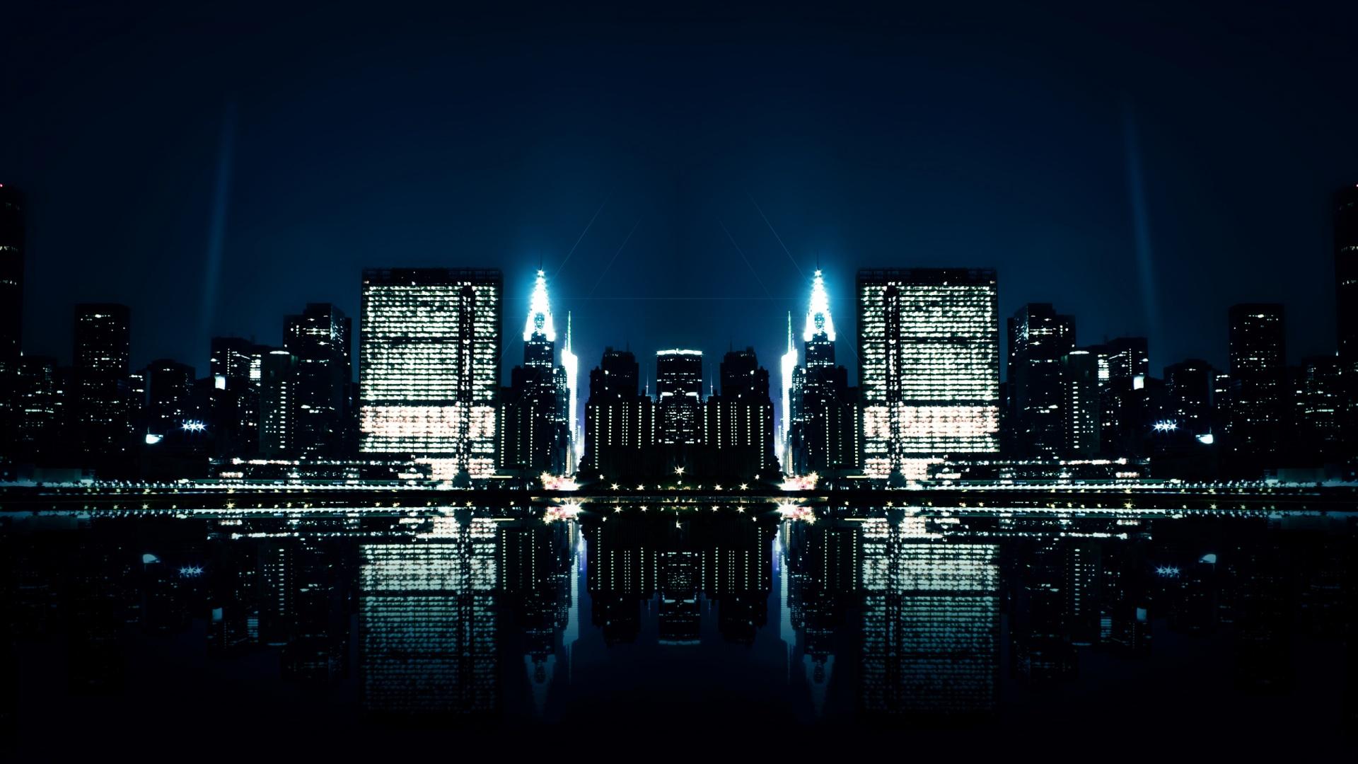City Night Reflections Wallpaper HD Wallpupcom 1920x1080