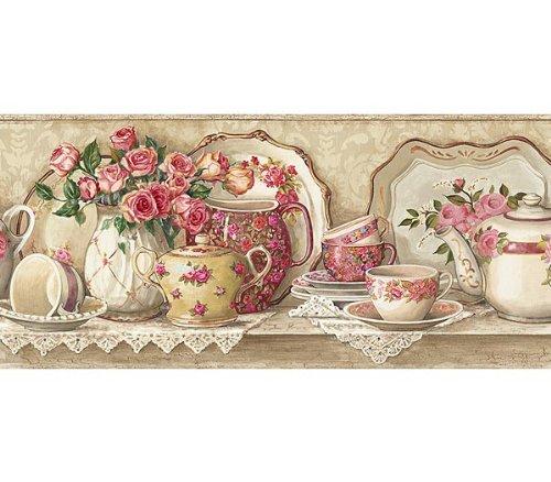 Victorian Lace Coral Rose Tea Pot Wallpaper Wall Border Tools 500x438