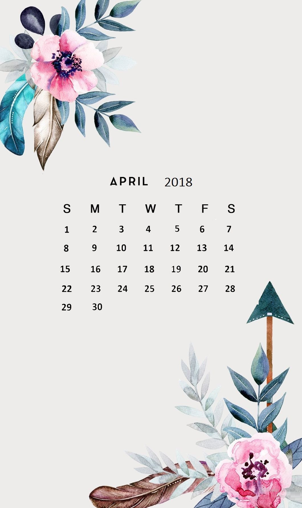 Amazing April 2018 Calendar Wallpaper to keep track of what needs 1060x1780
