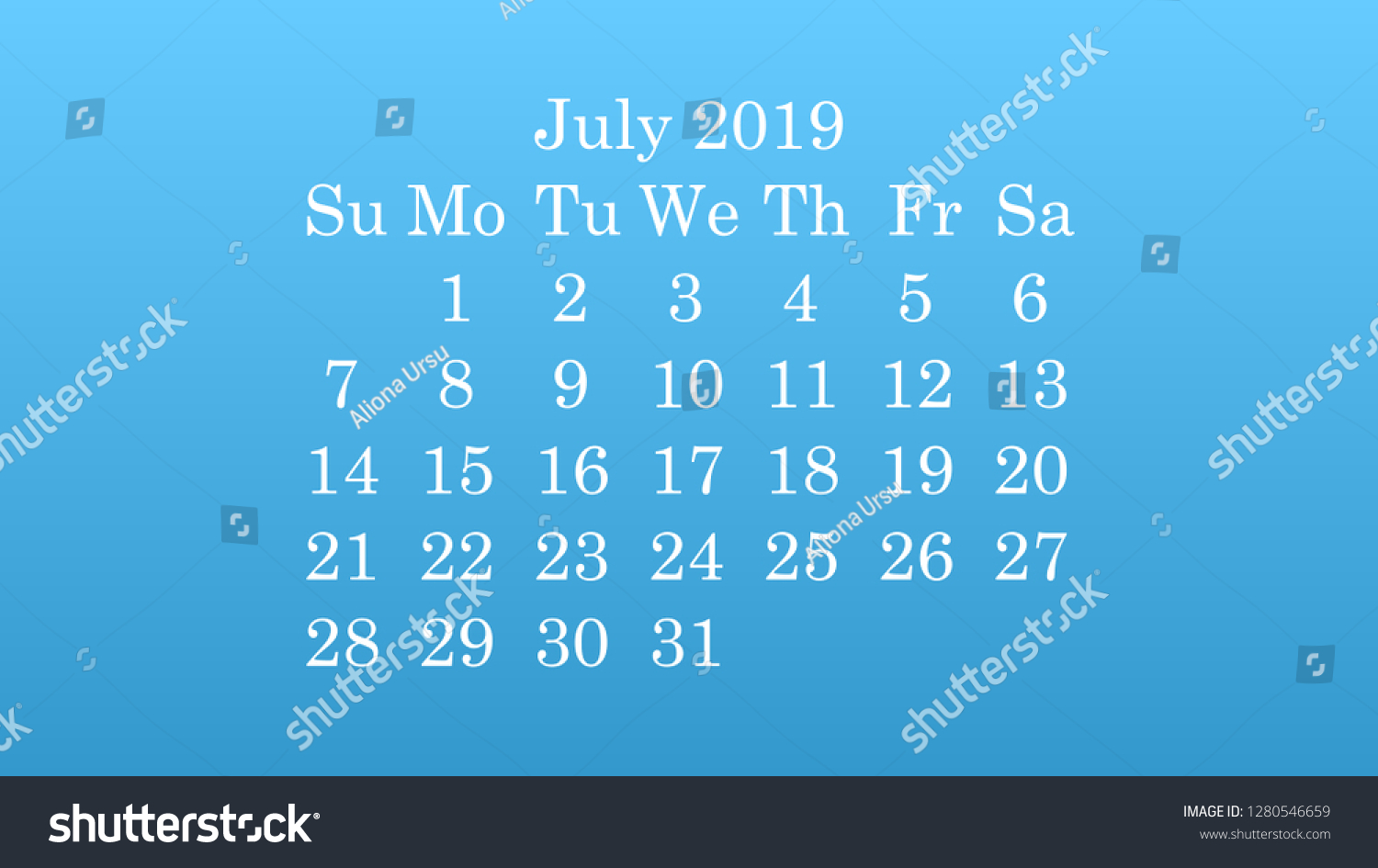July 2019 Desktop Wallpaper Calendar 2019 Stock Vector Royalty 1500x945